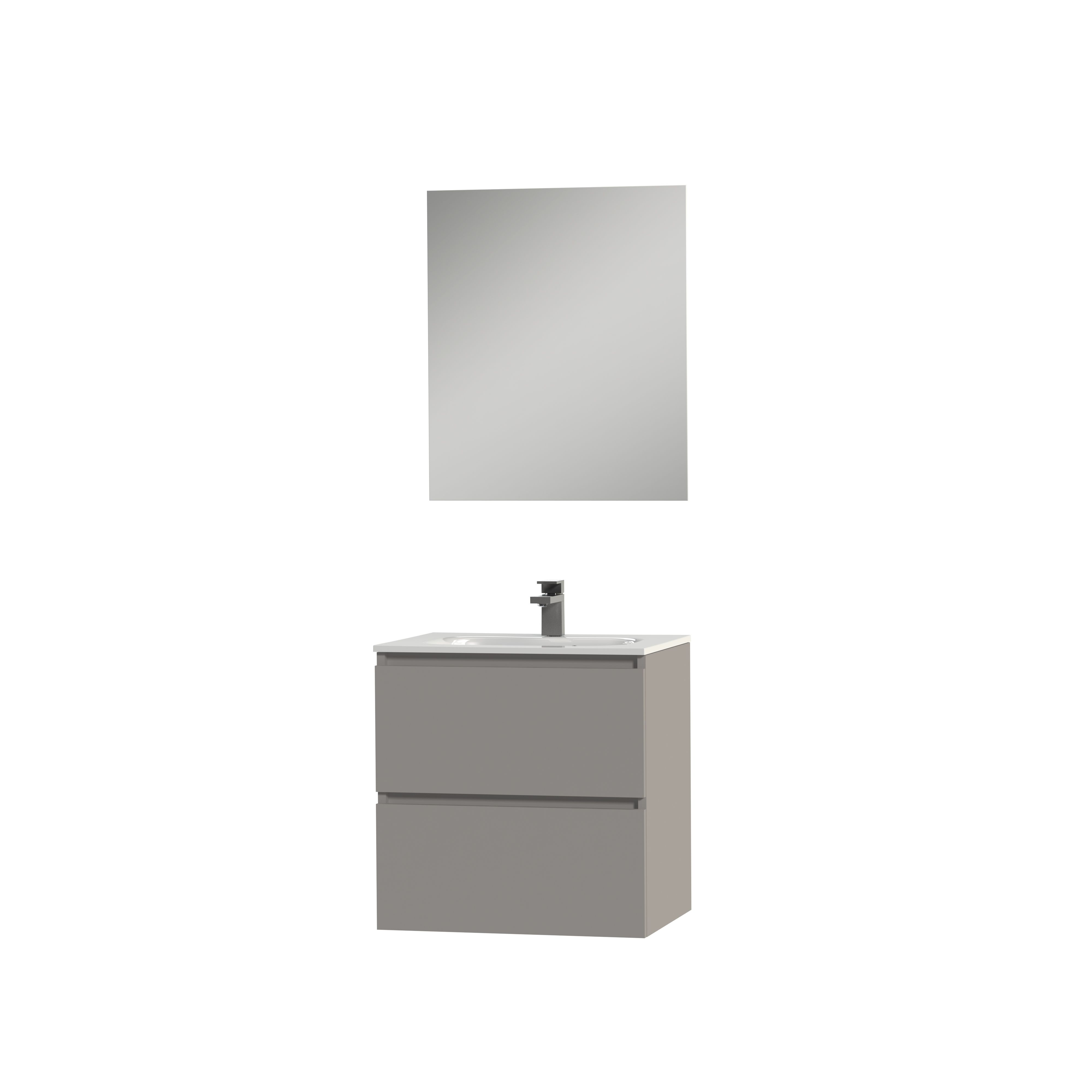 Tiger Loft badmeubel met spiegel en witte wastafel 60cm mat grijs