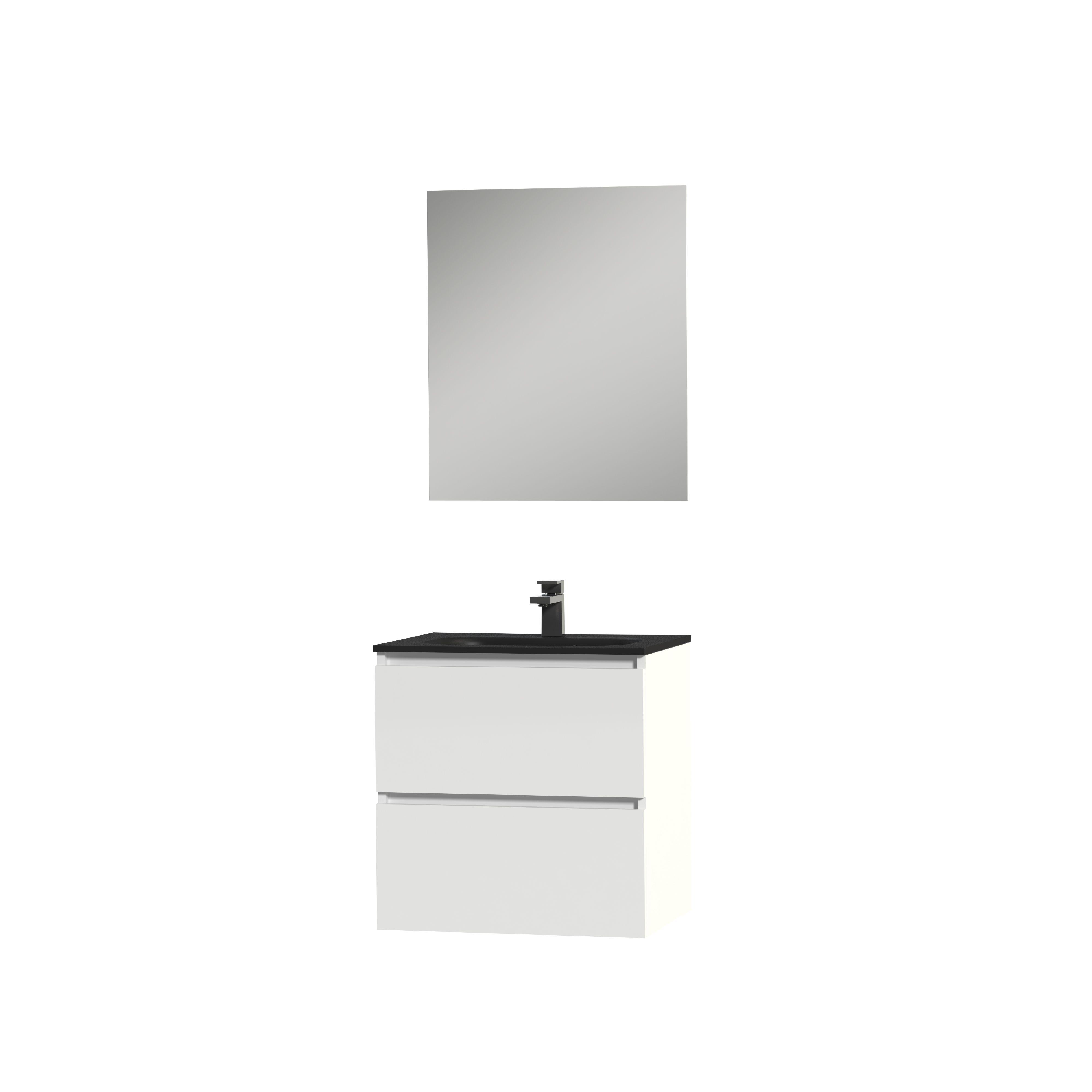 Tiger Loft badmeubel met spiegel en zwarte wastafel 60cm hoogglans wit