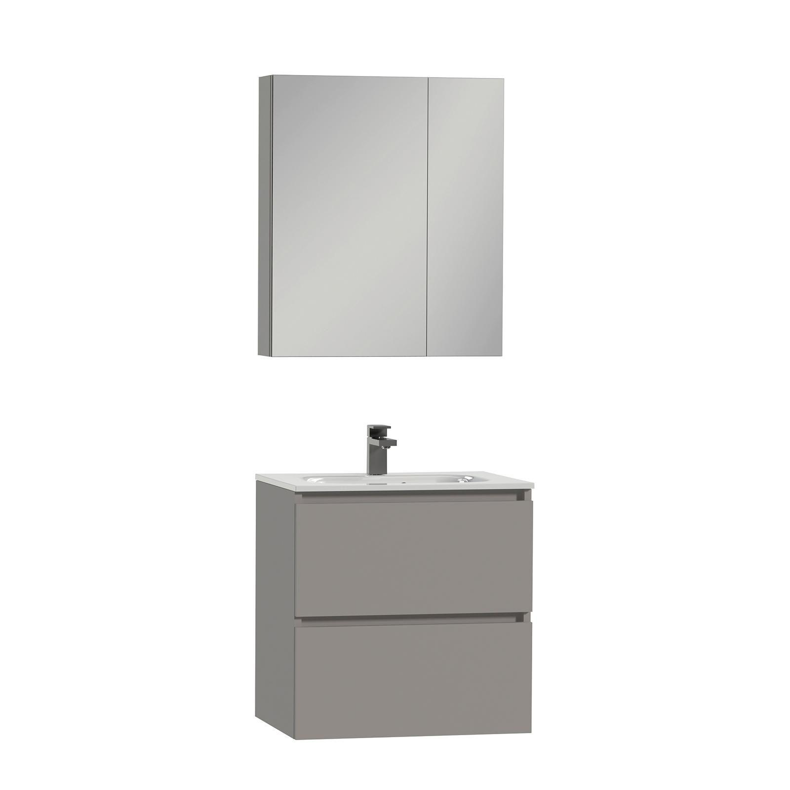 Loft Badkamermeubel 60cm met spiegelkast en witte wastafel