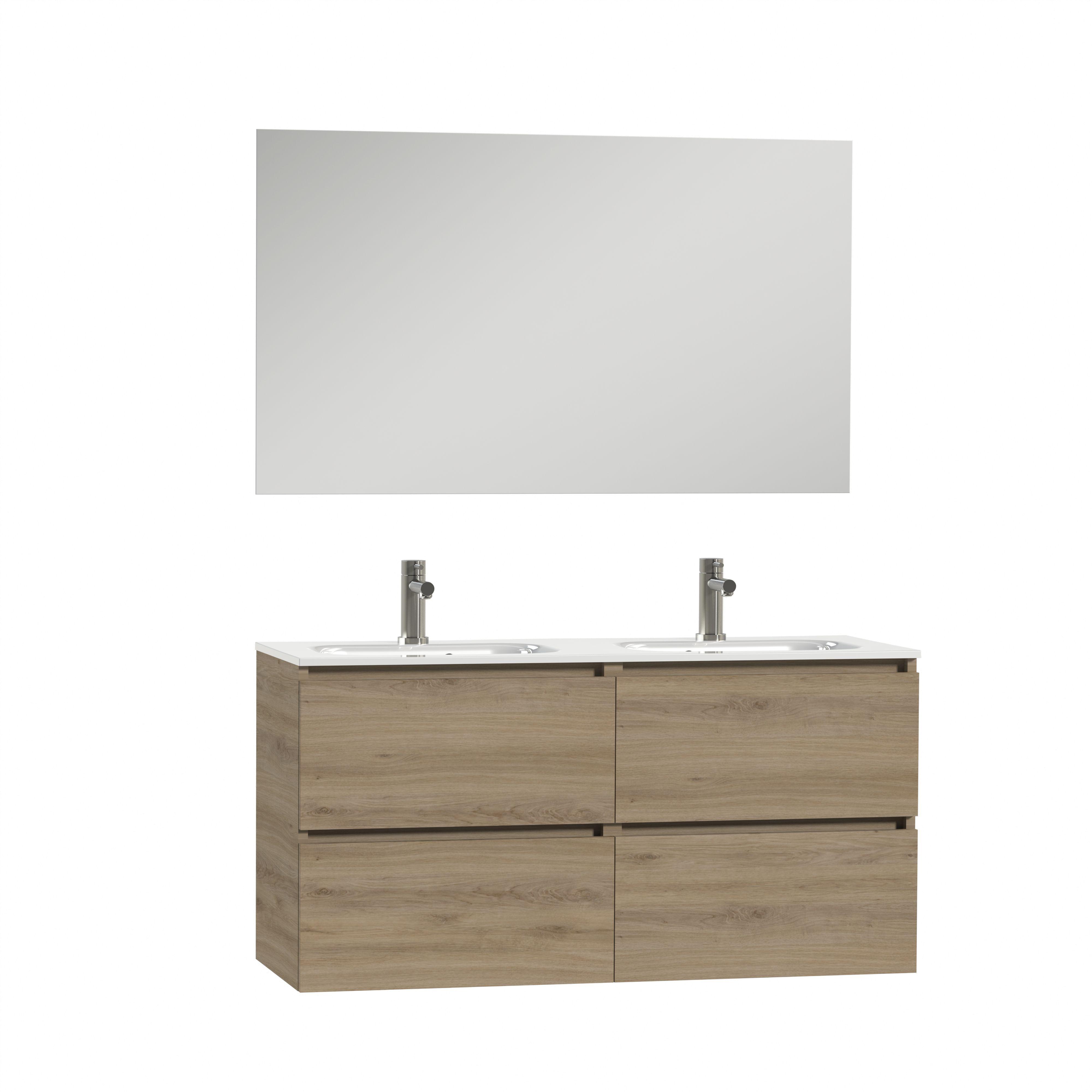 Tiger Loft dubbel badmeubel met spiegel en witte wastafel 120cm chalet eiken