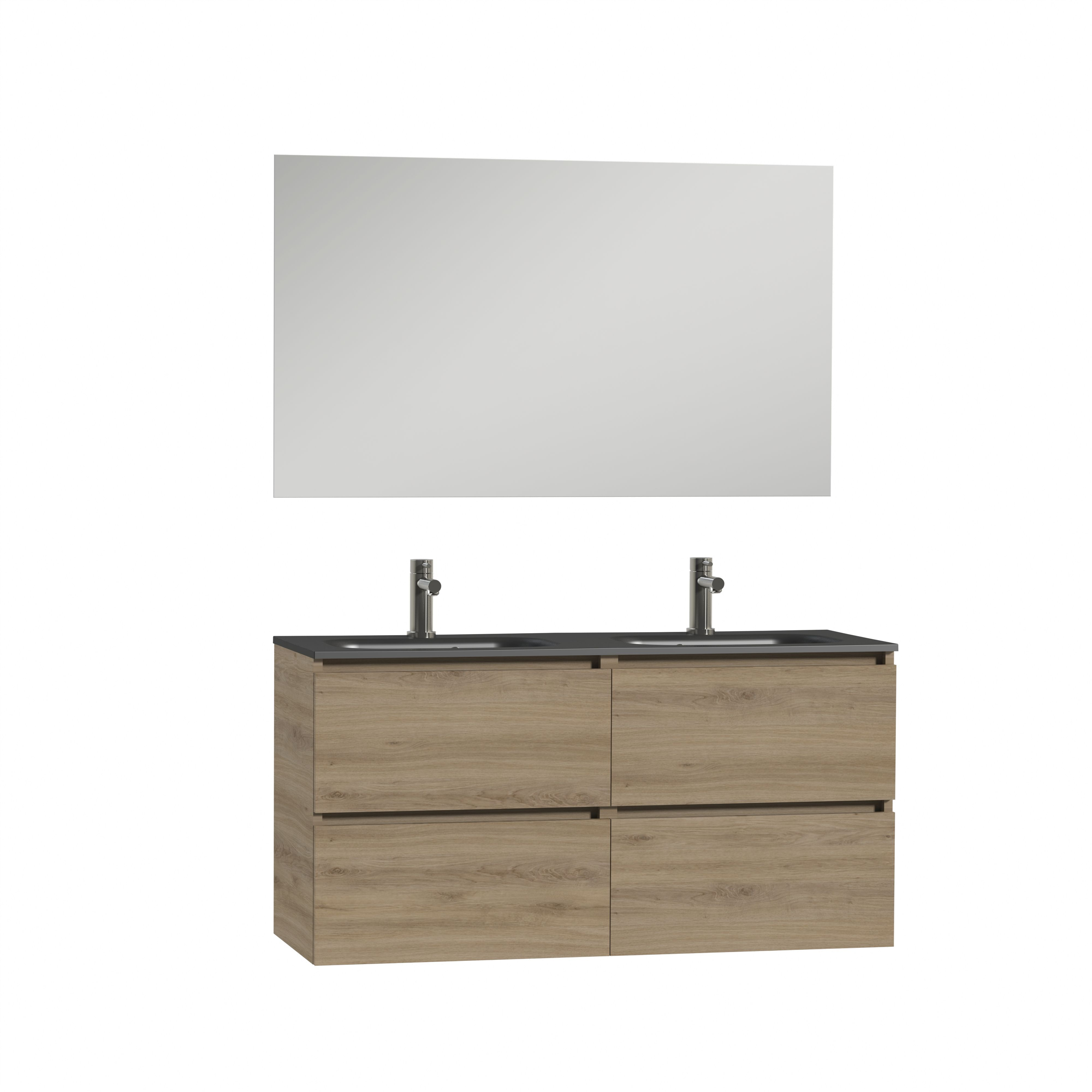 Tiger Loft dubbel badmeubel met spiegel en zwarte wastafel 120cm chalet eiken