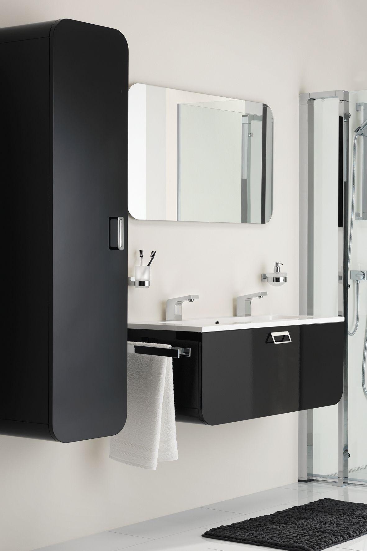 Tiger Ontario badkamermeubel 105cm hoogglans zwart met spiegel