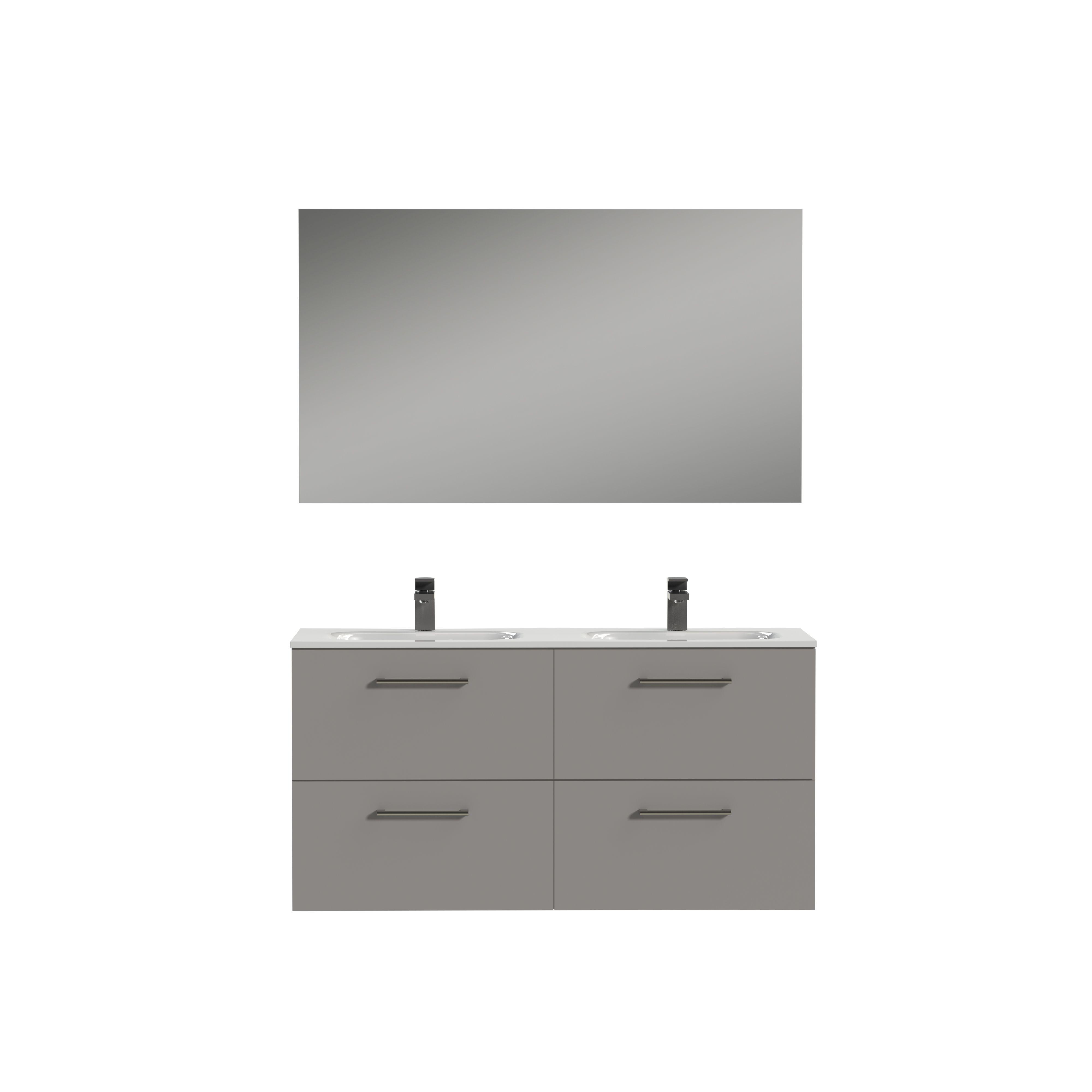 Tiger Studio badkamermeubel incl spiegel en witte wastafel 120cm mat grijs