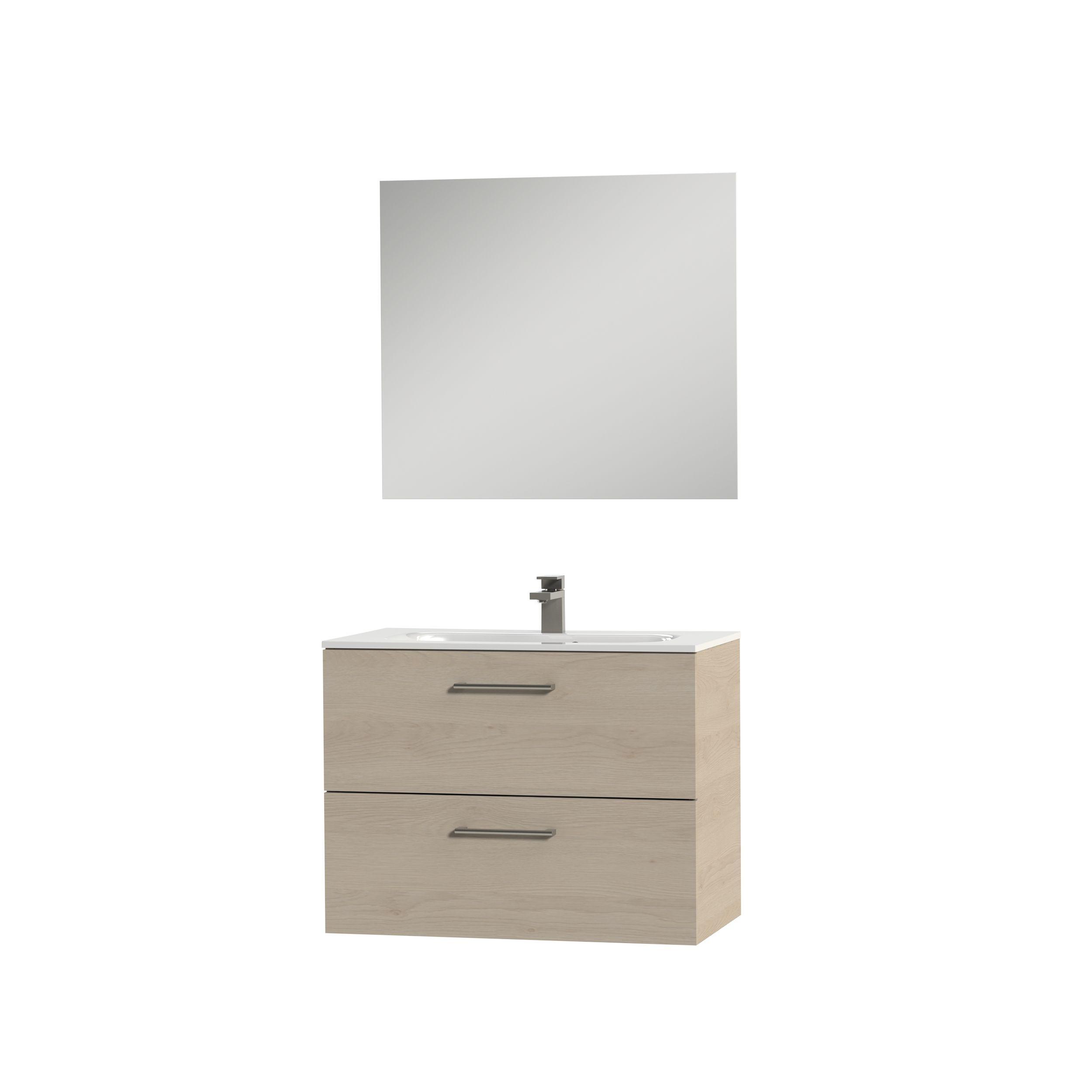 Tiger Studio badkamermeubel incl spiegel en witte wastafel 80cm naturel eiken