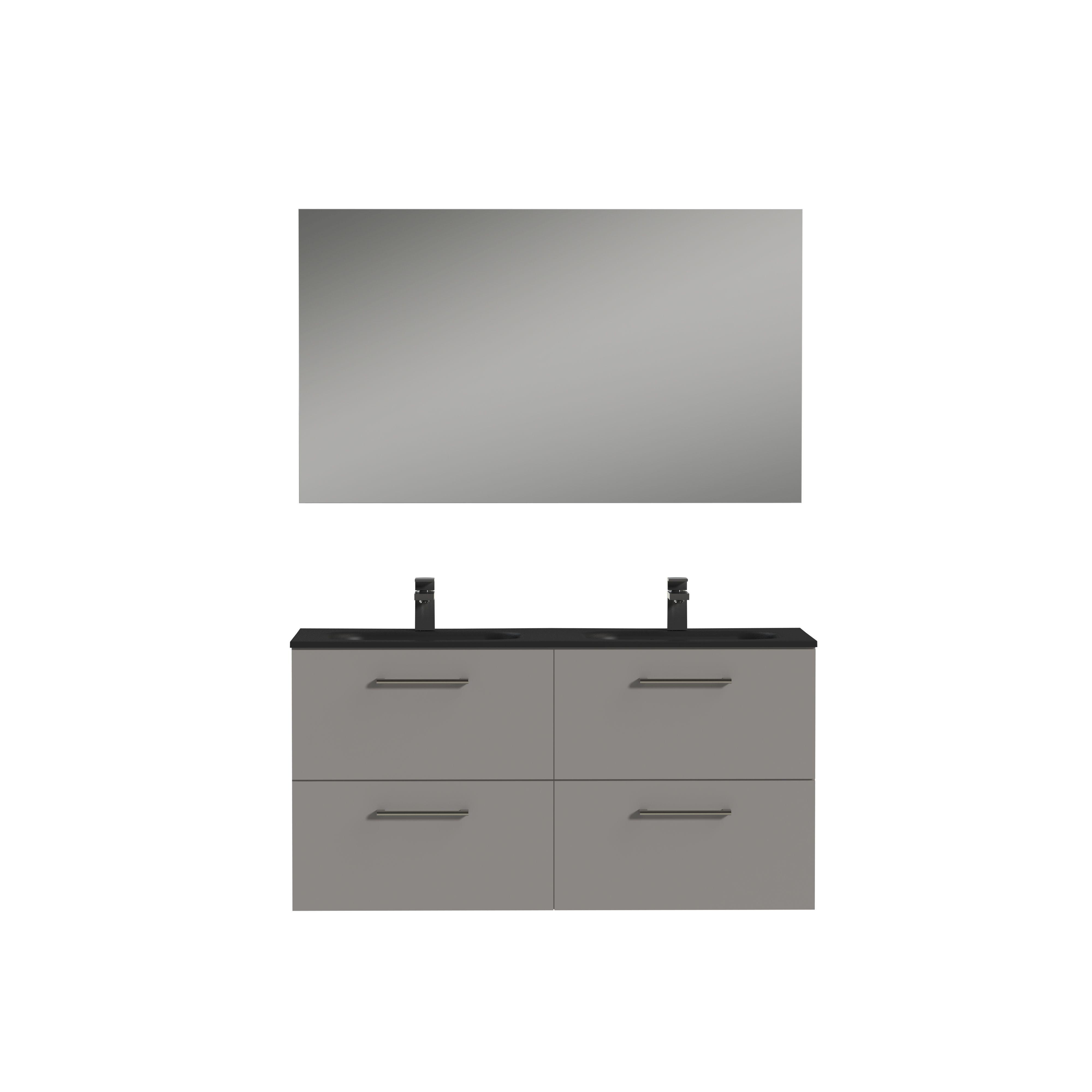 Tiger Studio badkamermeubel incl spiegel en zwart wastafel 120cm mat grijs