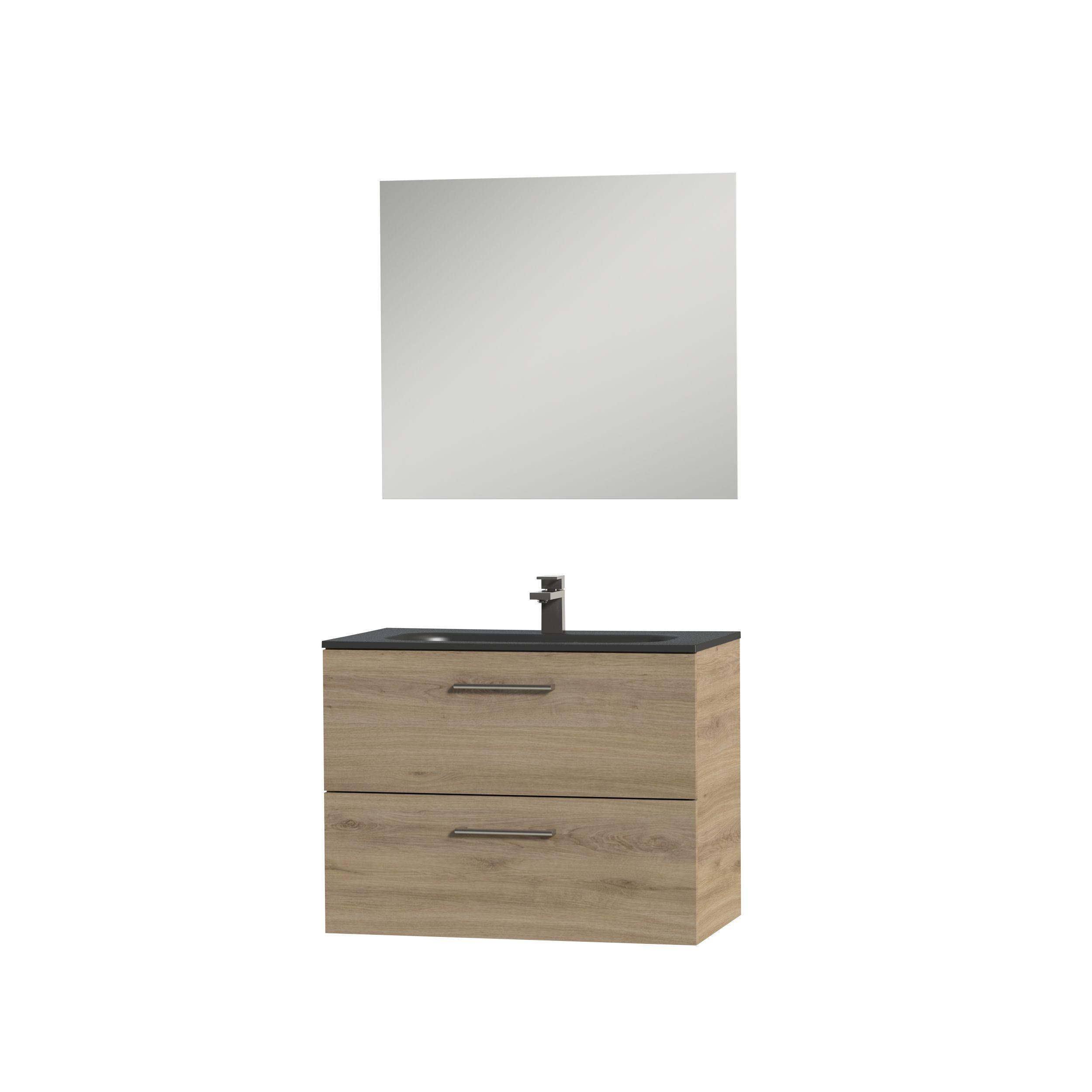 Tiger Studio badkamermeubel incl spiegel en zwarte wastafel 80cm chalet eiken