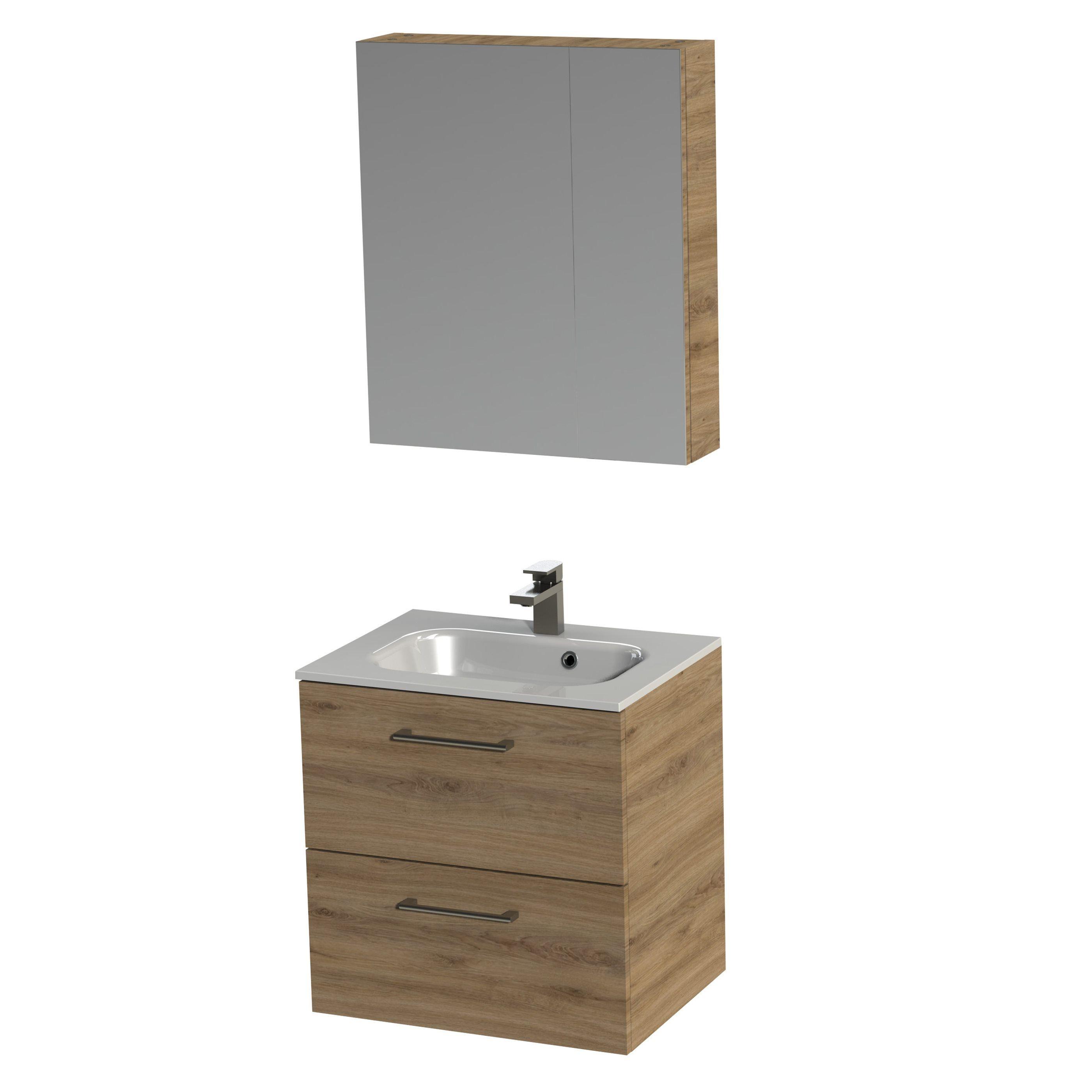 Tiger Studio badkamermeubel met spiegelkast en witte wastafel 60cm chalet eiken