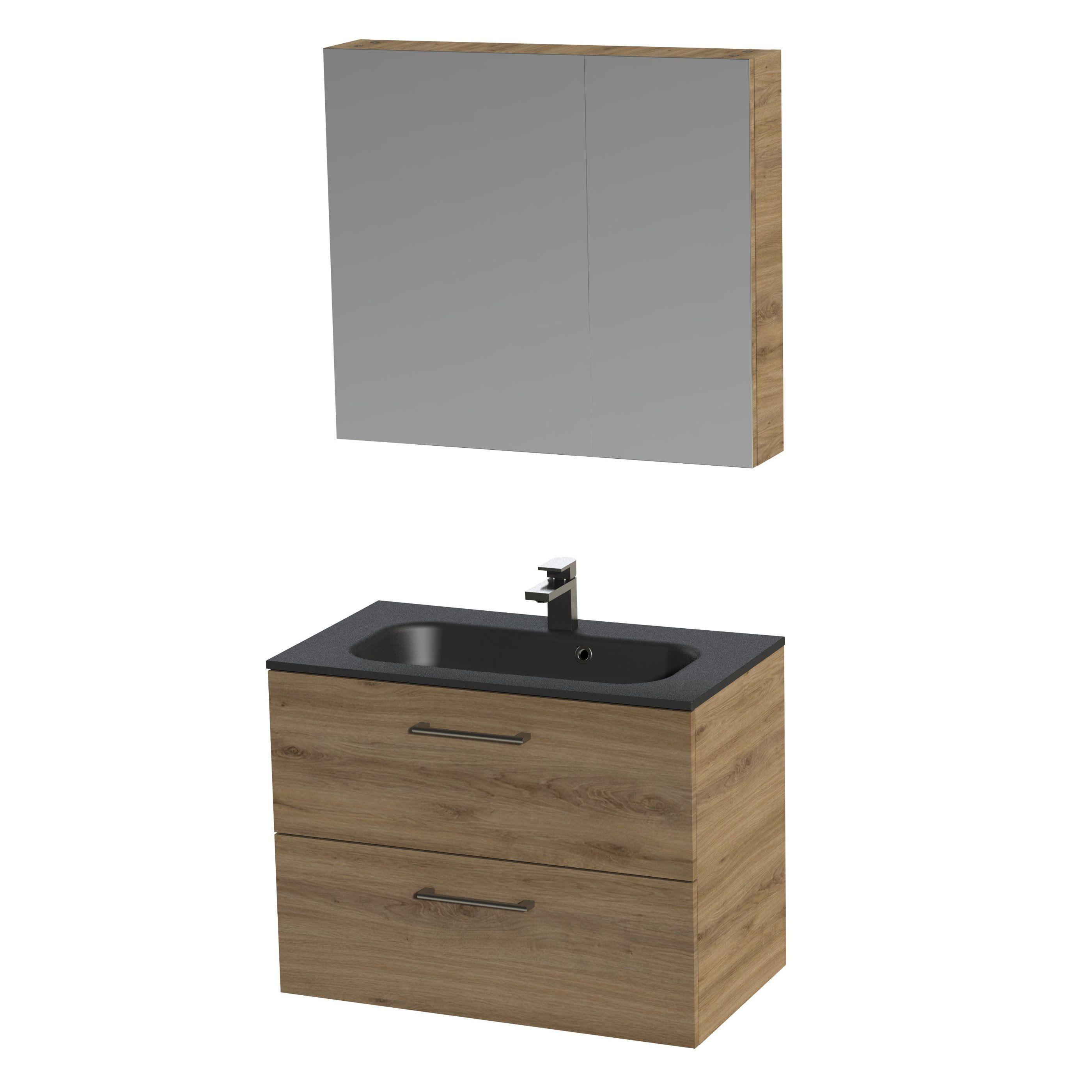 Tiger Studio badkamermeubel met spiegelkast en zwarte wastafel 80cm chalet eiken