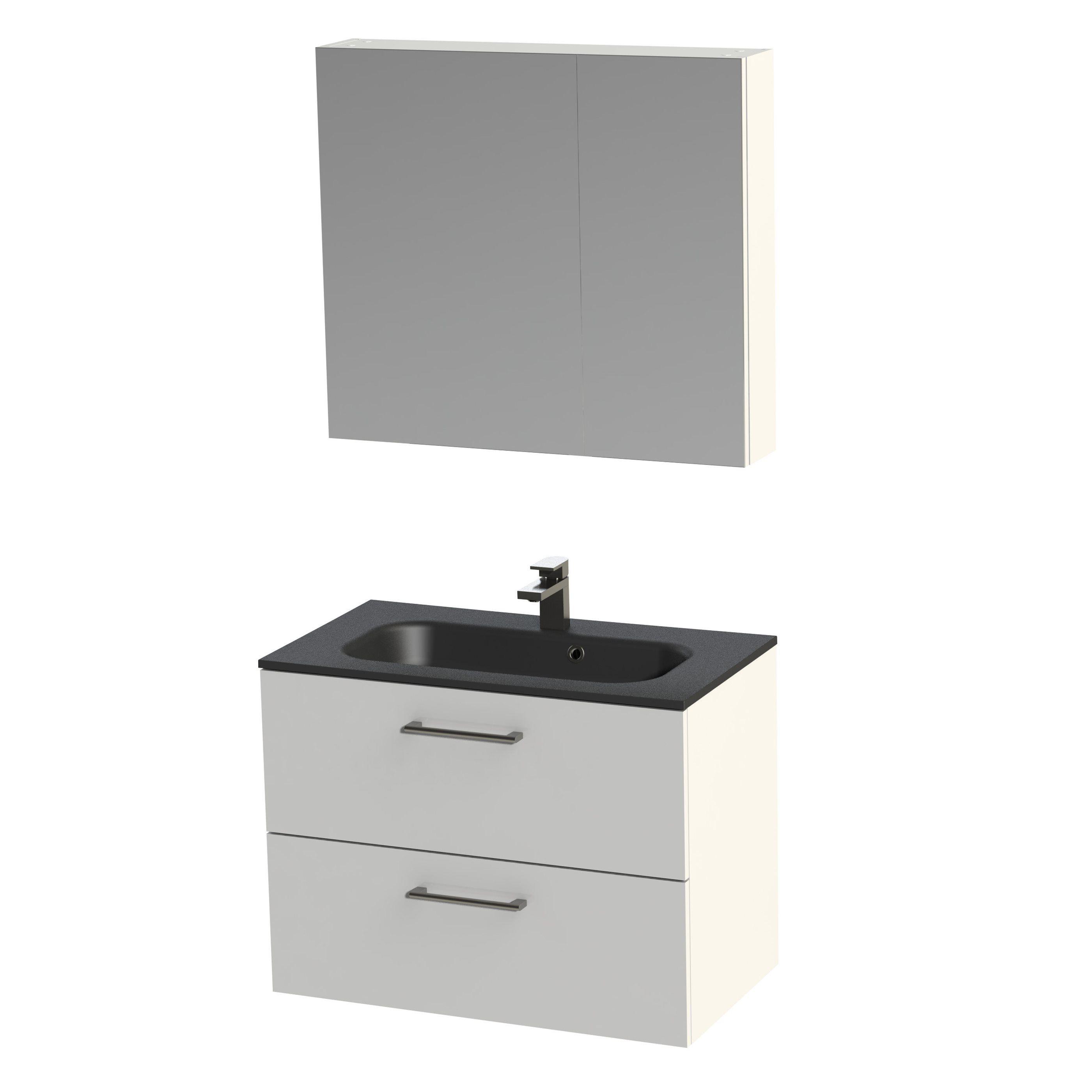 Tiger Studio badkamermeubel met spiegelkast en zwarte wastafel 80cm wit