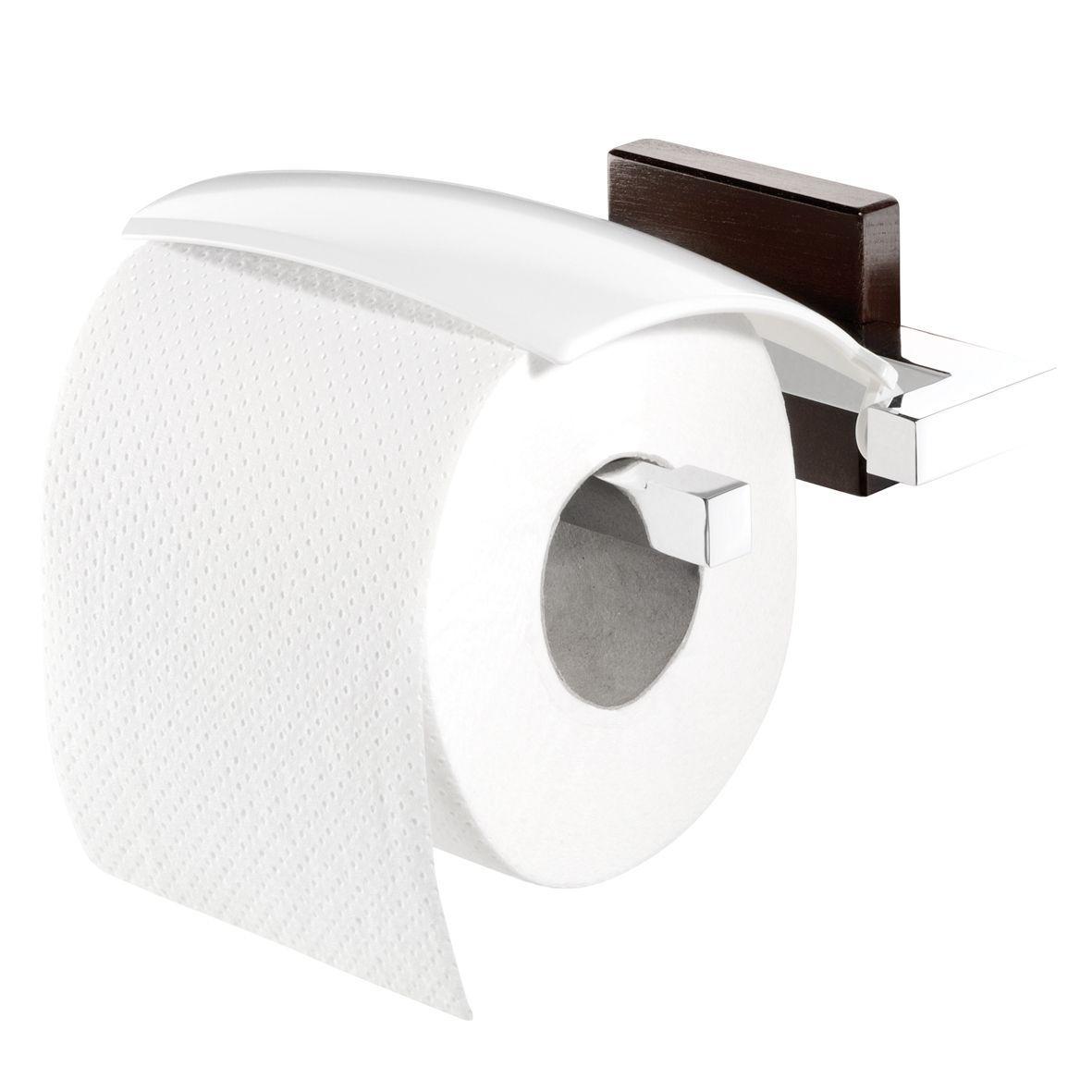 Tiger Zenna toiletrolhouder met klep chroom/wengé