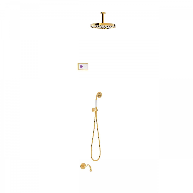 Tres Shower Technology Clasic elektronische inbouwthermostaat met regendouche en baduitloop plafondmontage goud