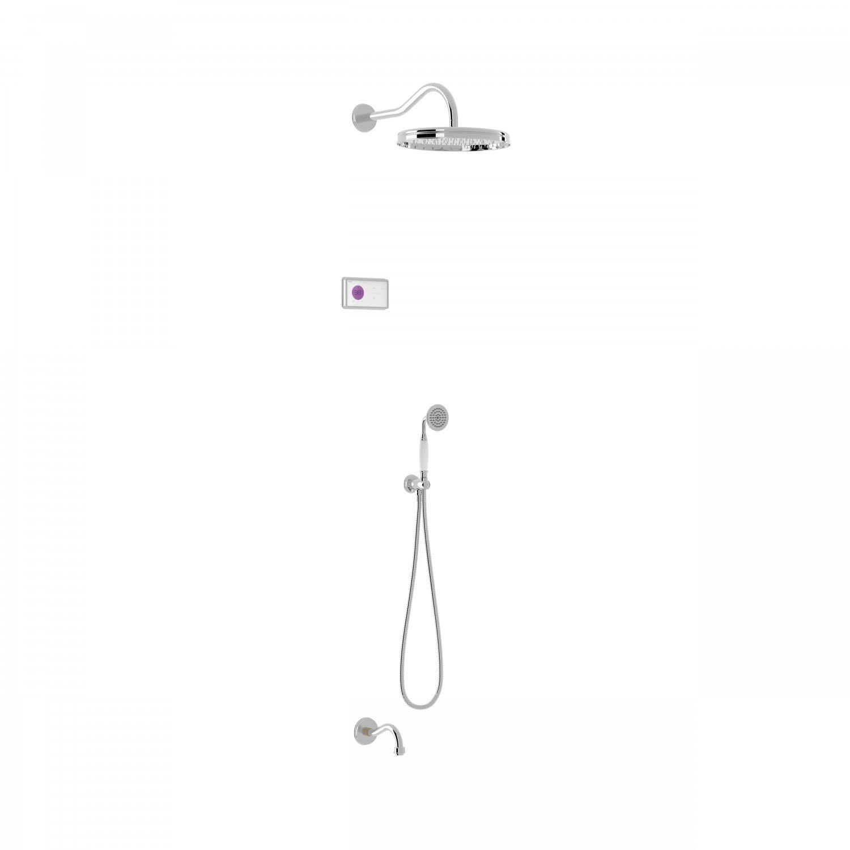 Tres Shower Technology Clasic elektronische inbouwthermostaat met regendouche en baduitloop wandmontage chroom