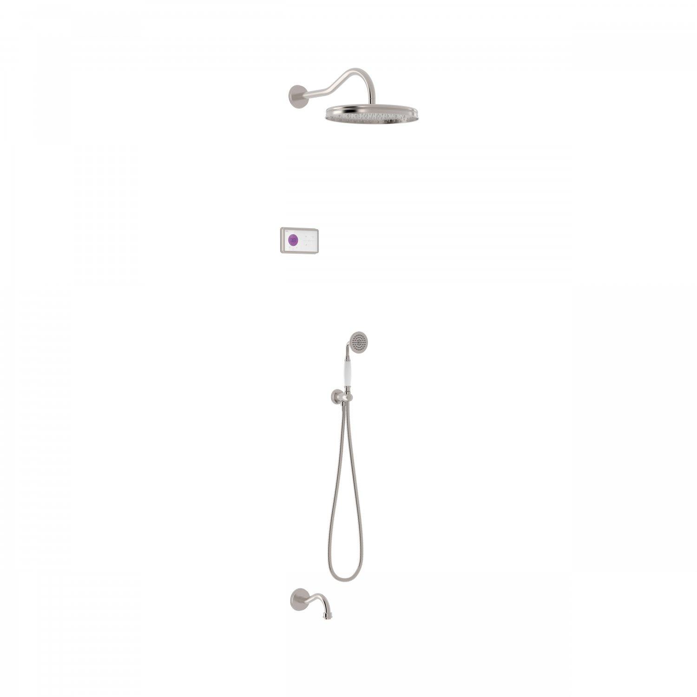 Tres Shower Technology Clasic elektronische inbouwthermostaat met regendouche en baduitloop wandmontage geborsteld staal