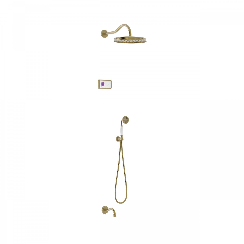 Tres Shower Technology Clasic elektronische inbouwthermostaat met regendouche en baduitloop wandmontage mat verouderd messing