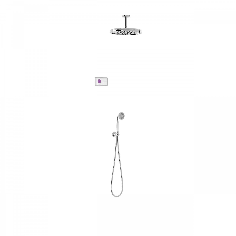 Tres Shower Technology Clasic elektronische inbouwthermostaat met regendouche en handdouche plafondmontage chroom