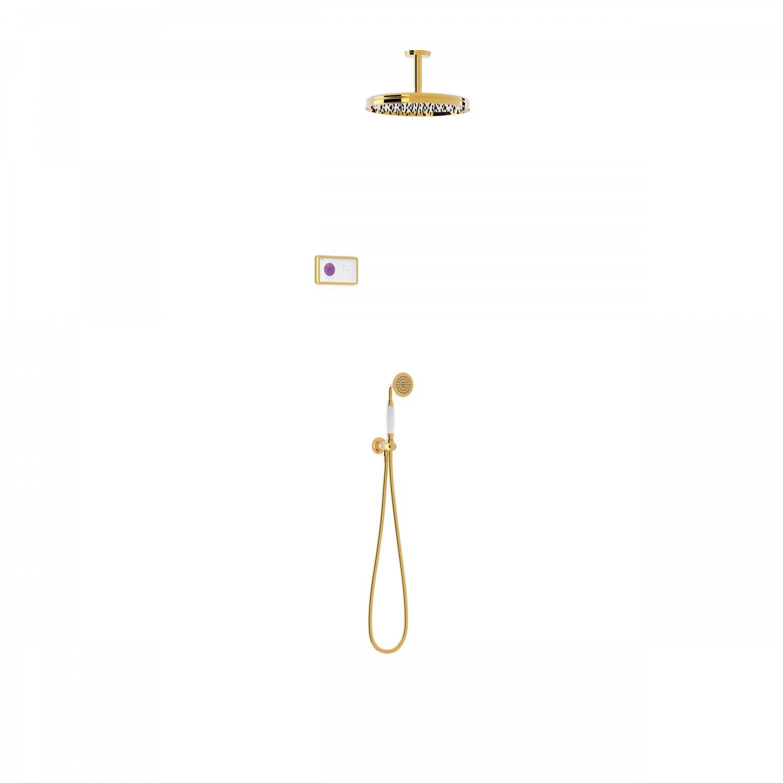 Tres Shower Technology Clasic elektronische inbouwthermostaat met regendouche en handdouche plafondmontage goud