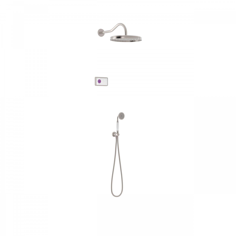 Tres Shower Technology Clasic elektronische inbouwthermostaat met regendouche en handdouche wandmontage geborsteld staal