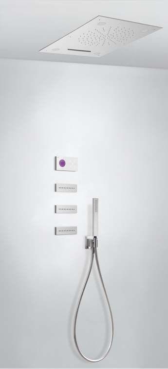 Tres Shower Technology digitale inbouwthermostaat met luxe regendouche en massagejets