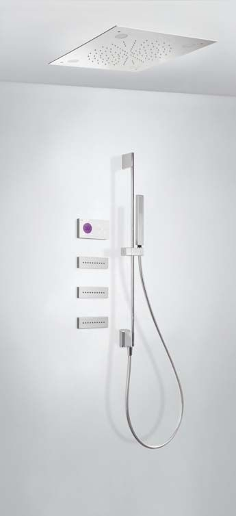 Tres Shower Technology digitale inbouwthermostaat met regendouche en massagejets