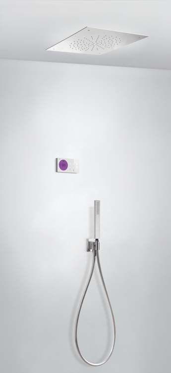 Tres Shower Technology elektronische inbouwthermostaat met regendouche 38x38cm en handdouche