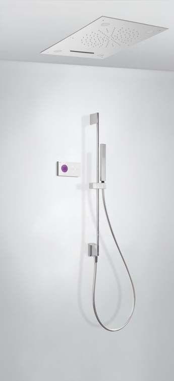 Tres Shower Technology elektronische inbouwthermostaat met waterval plafonddouche en lichttherapie