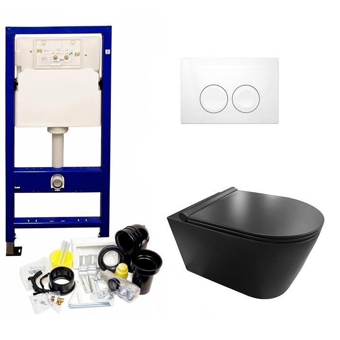 UP100 toiletset met mat zwarte Saniclear Nero toiletpot incl softclose zitting