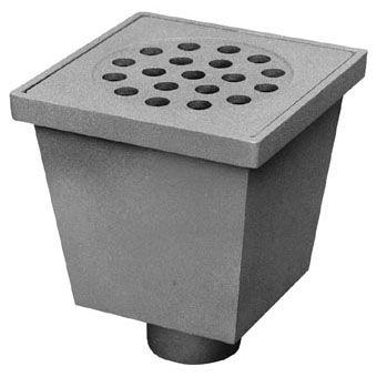 van den Berg aluminium vloerput m. emmer 20x20cm m. RVS rooster m. onderuitlaat 75mm