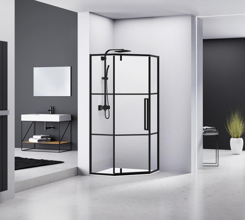 Productafbeelding van van Rijn ST04 vijfhoek douchecabine mat zwart 100x100cm