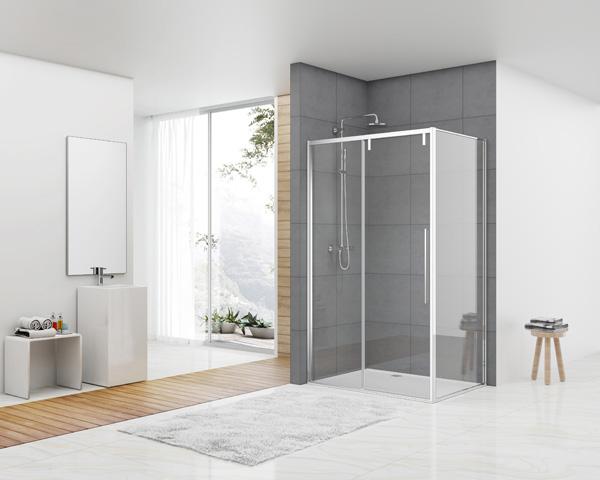 van Rijn ST06 douchecabine met 120cm softclose deur en helder glas chroom 120x100cm