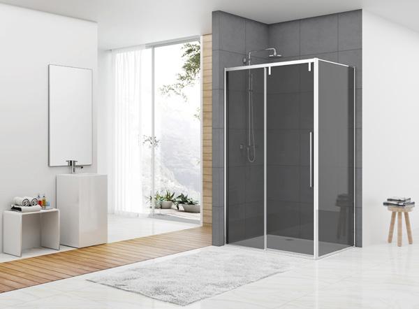 Productafbeelding van van Rijn ST06 douchecabine met 160cm softclose deur en rookglas chroom 160x100cm