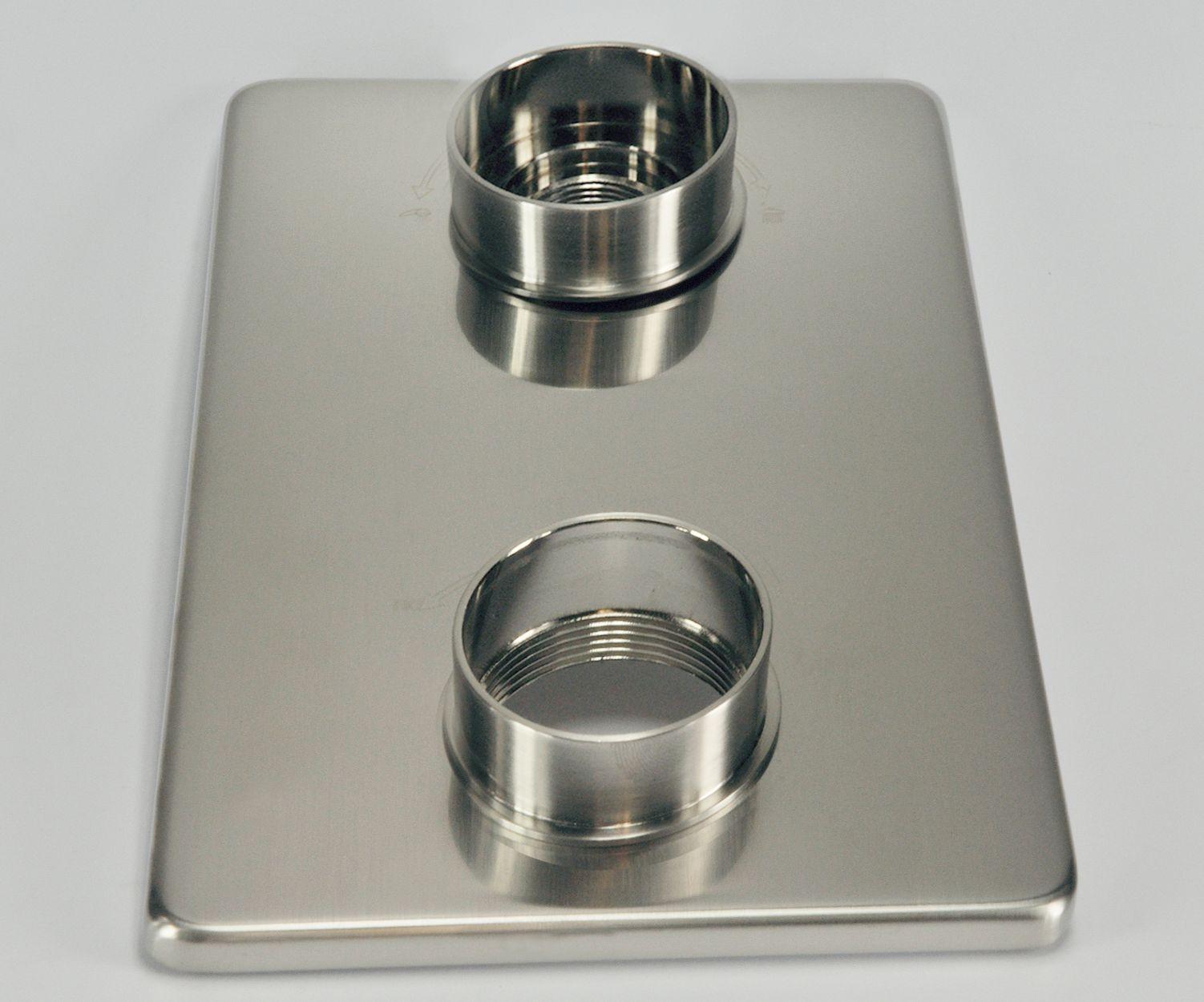 Wiesbaden 8mm verlengset voor 2 knops douchethermostaat geborsteld staal