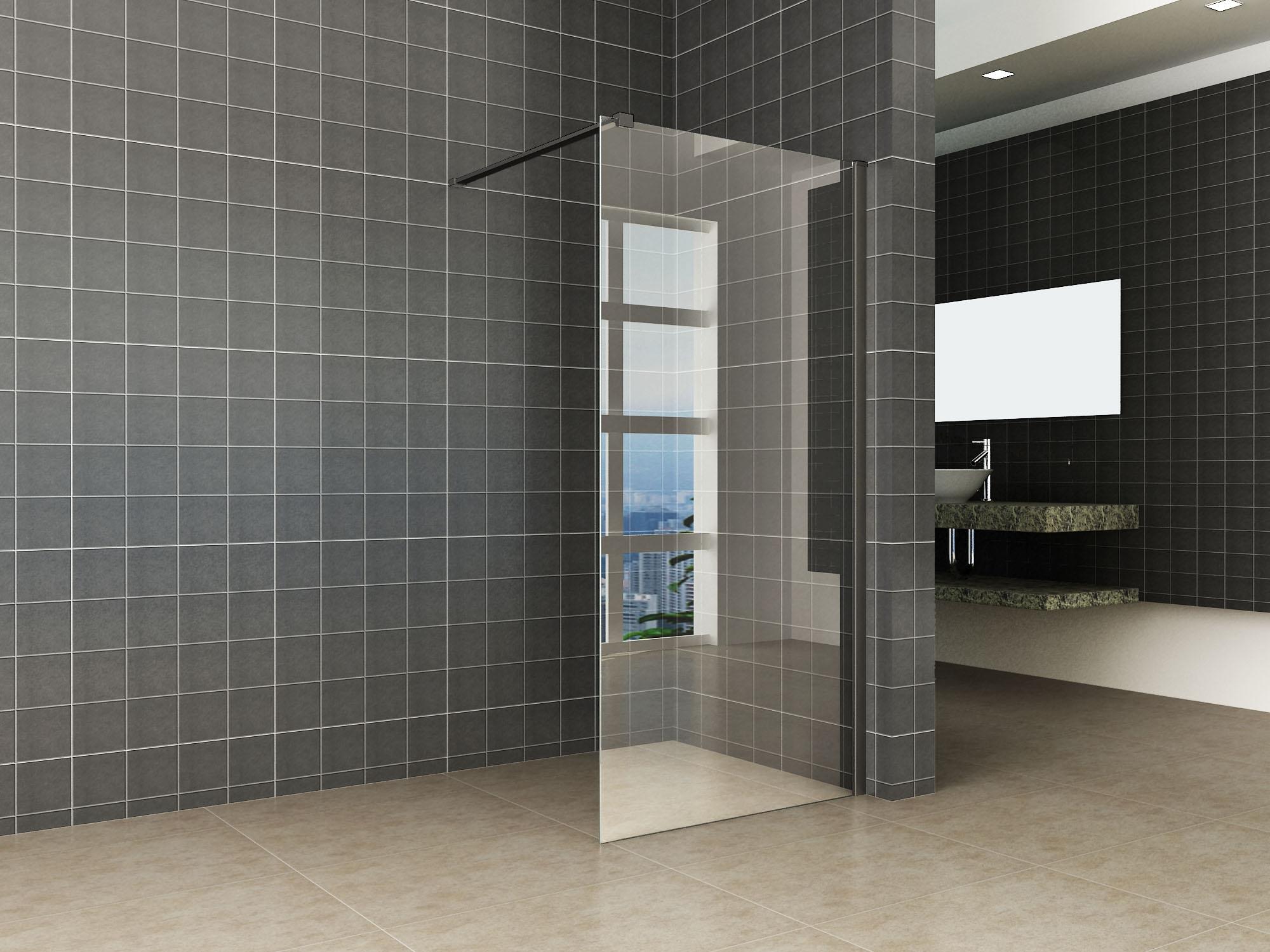 Wiesbaden inloopdouche 100x200 10mm met zwart muurprofiel Safetyglass 2.0