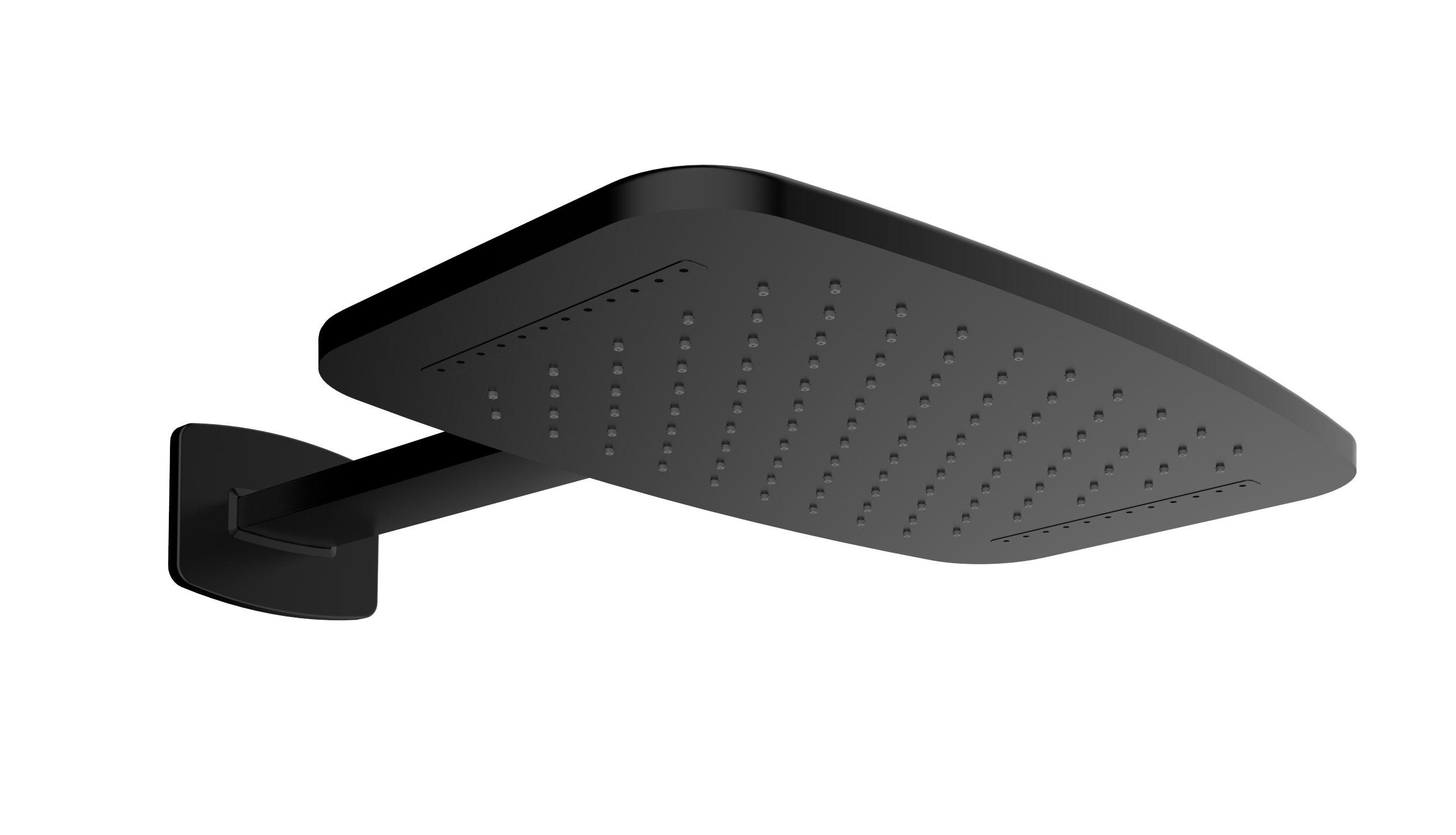 Mueller waterval hoofddouche inclusief douchearm 40x25 mat zwart