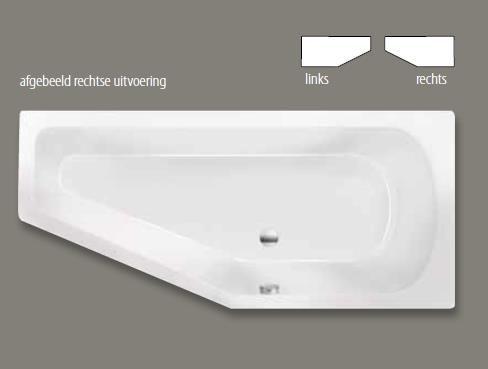 Xenz Lagoon Compact badkuip rechts 170x75x45cm manhattan kopen doe je voordelig hier