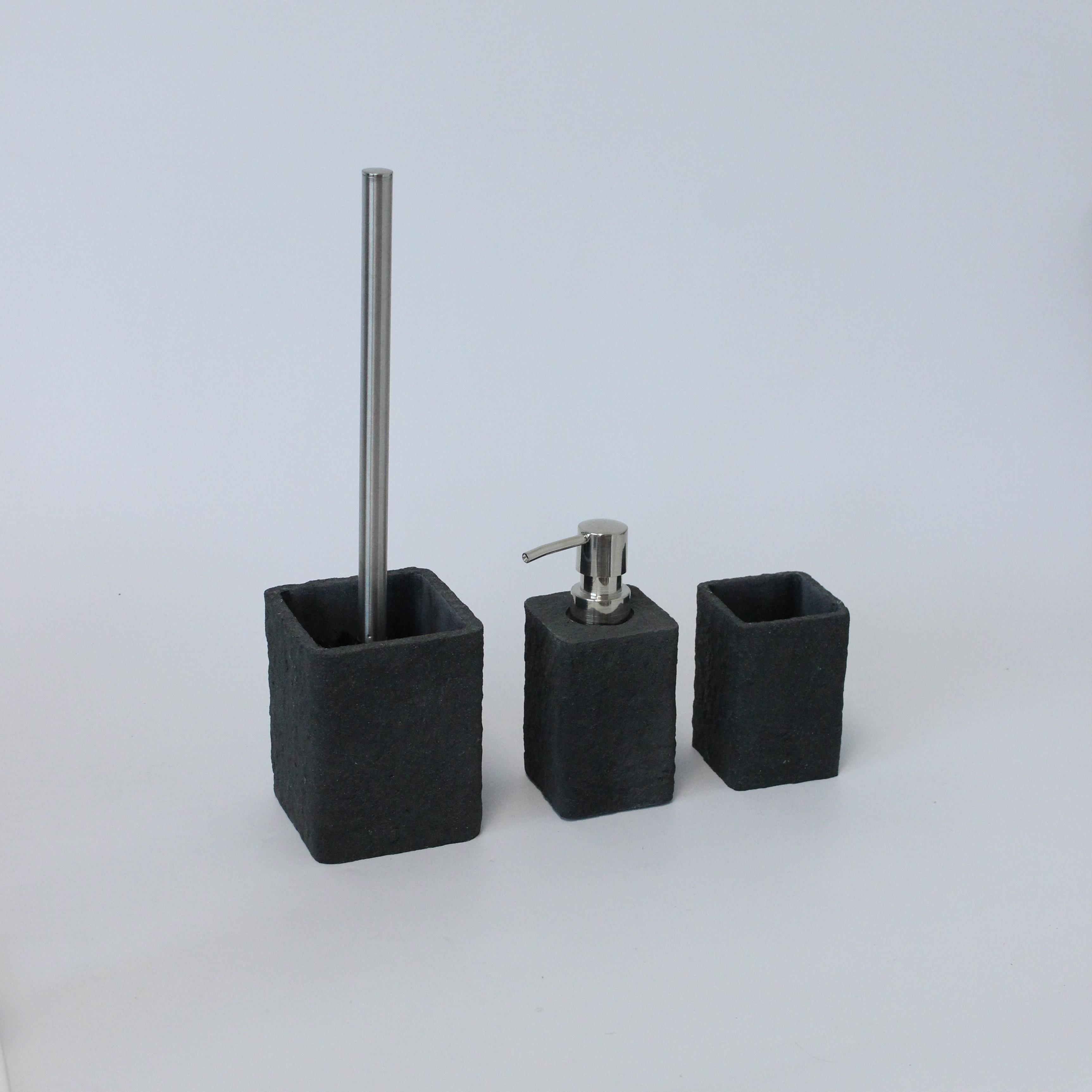 Yubo toilet accessoires set zwart
