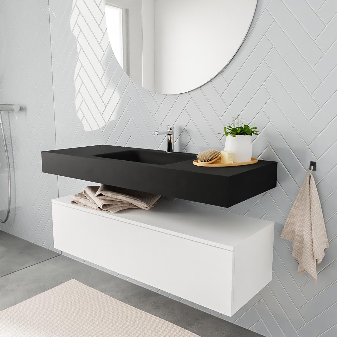 Zaro ALAN vrijhangende wastafel 120cm met wasbak Enkel midden en onderkast in kleur Wit mat 1 lade(s