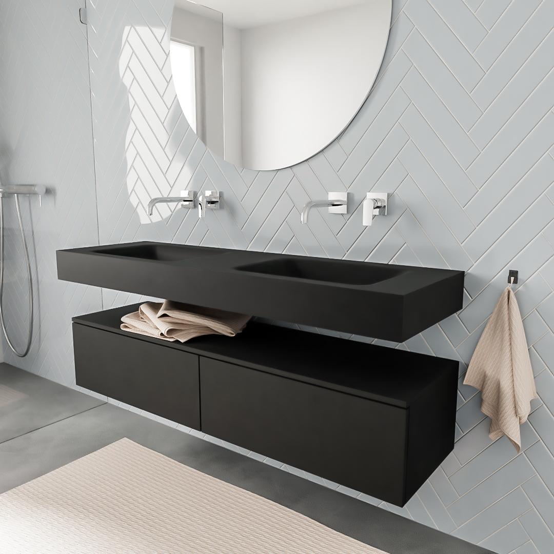 Zaro ALAN vrijhangende wastafel 150cm met wasbak dubbel en onderkast in kleur Zwart mat 2 lade(s)