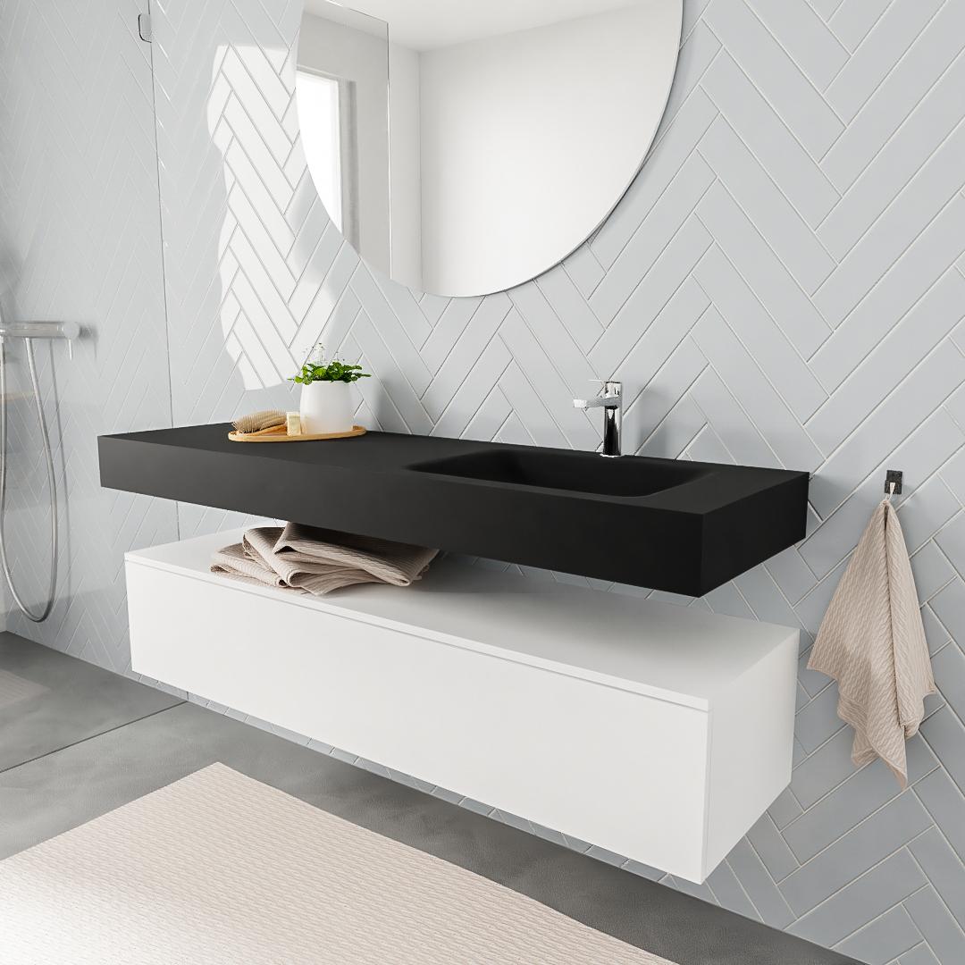 Zaro ALAN vrijhangende wastafel 150cm met wasbak Enkel rechts en onderkast in kleur Wit mat 1 lade(s