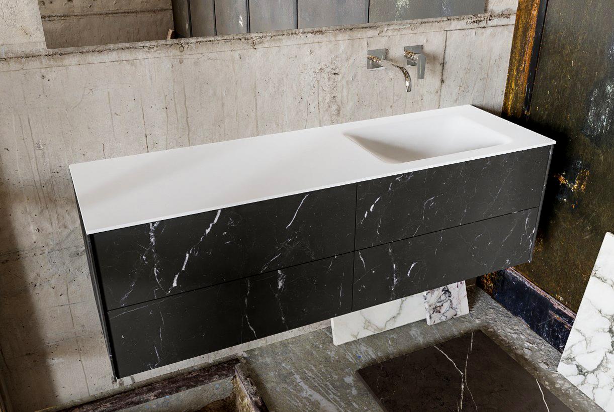 Zaro Kivi badkamermeubel met donker marmeren tegels 150cm solid surface wastafel rechts 4 lades zond