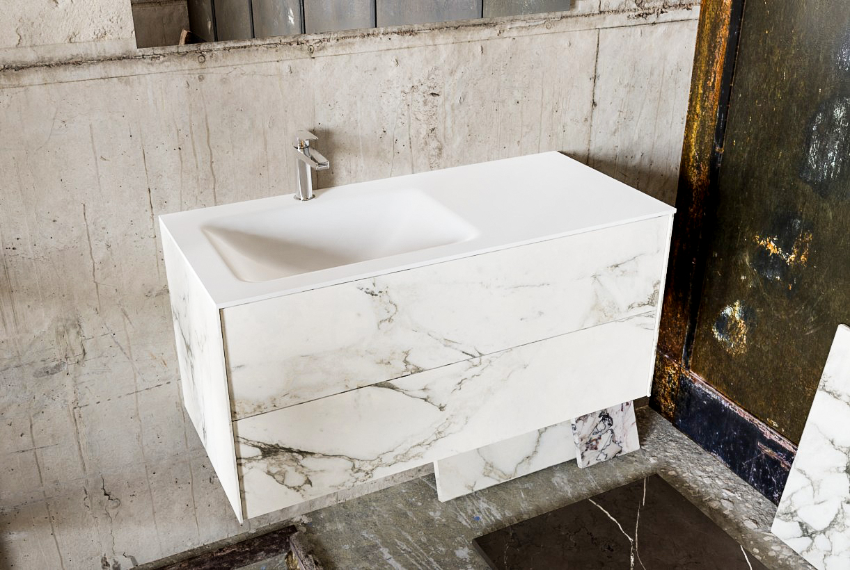 Zaro Kivi badkamermeubel met marmer tegels 100cm solid surface wastafel links 2 lades 1 kraangat