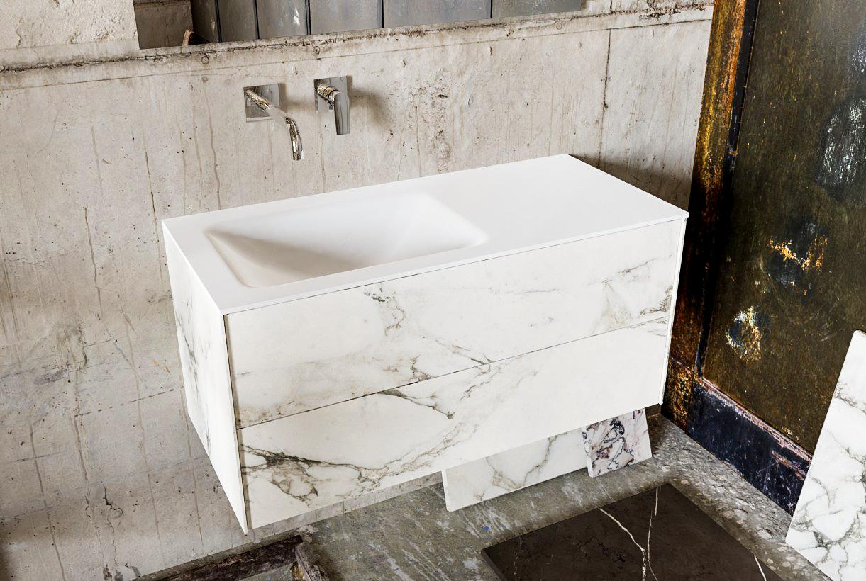Zaro Kivi badkamermeubel met marmer tegels 100cm solid surface wastafel links 2 lades zonder kraanga