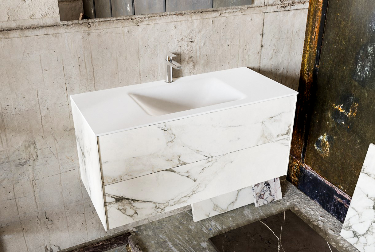 Zaro Kivi badkamermeubel met marmer tegels 100cm solid surface wastafel midden 2 lades 1 kraangat