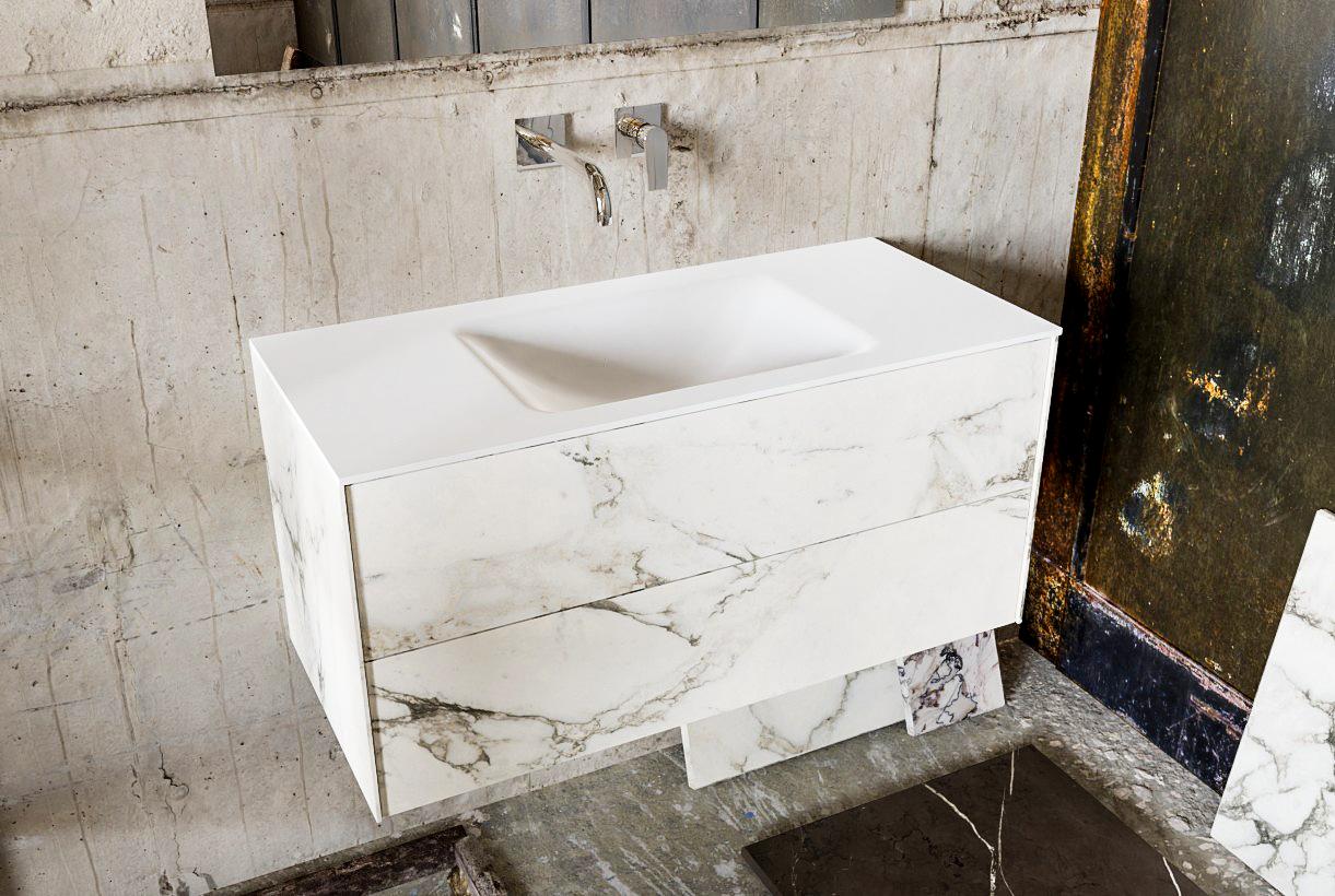 Zaro Kivi badkamermeubel met marmer tegels 100cm solid surface wastafel midden 2 lades zonder kraang