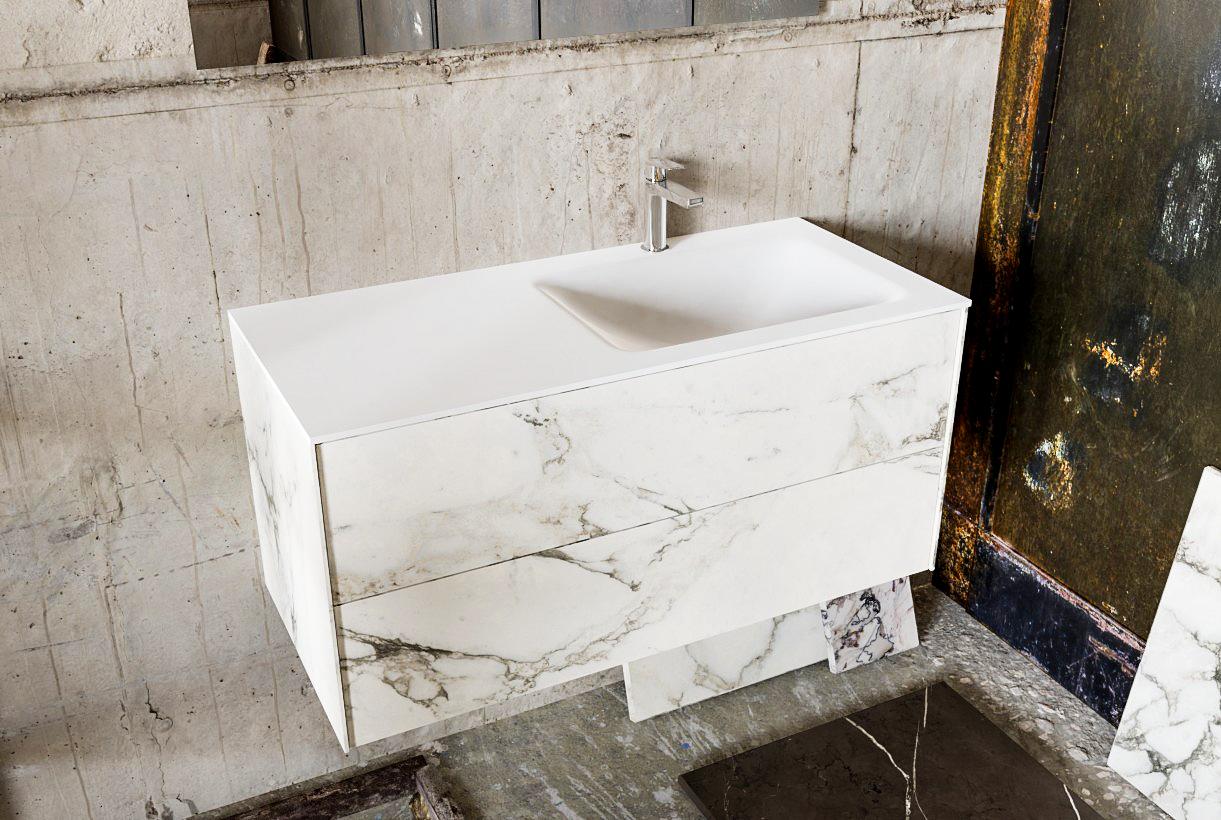 Zaro Kivi badkamermeubel met marmer tegels 100cm solid surface wastafel rechts 2 lades 1 kraangat