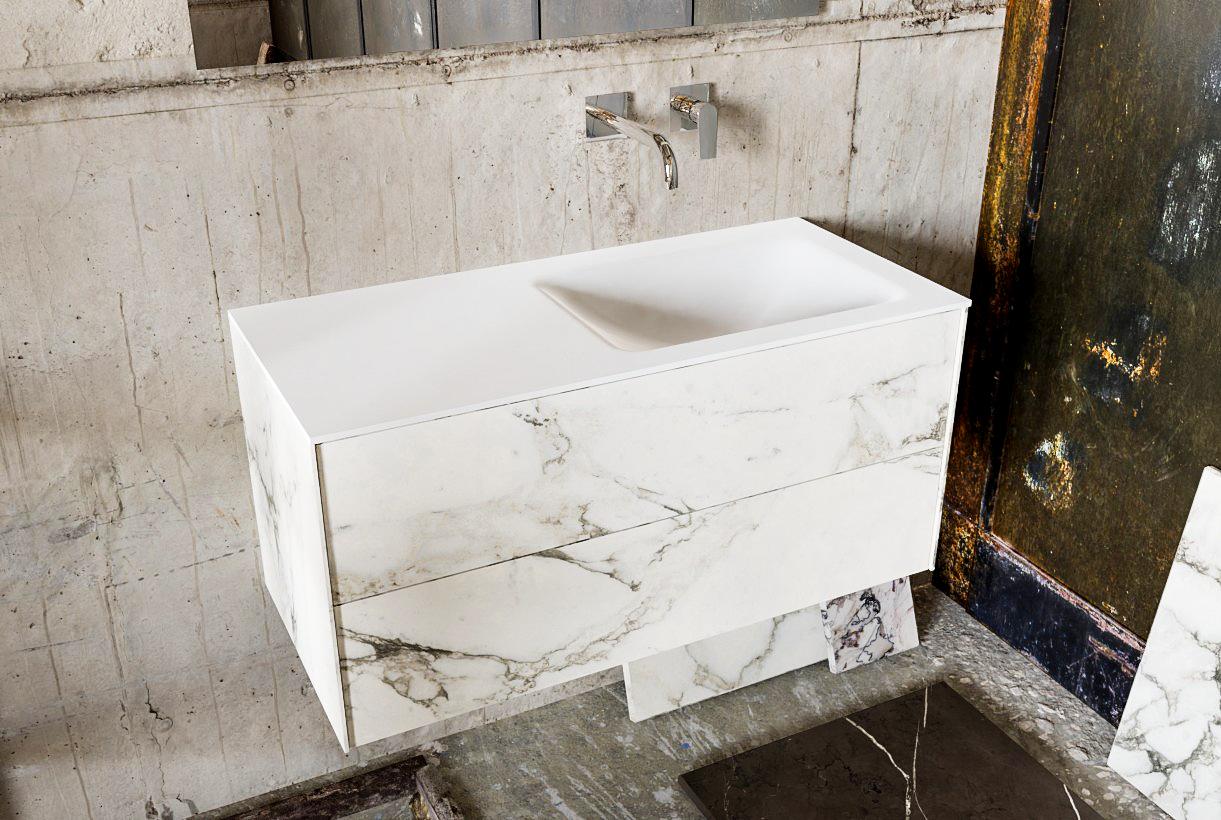 Zaro Kivi badkamermeubel met marmer tegels 100cm solid surface wastafel rechts 2 lades zonder kraang
