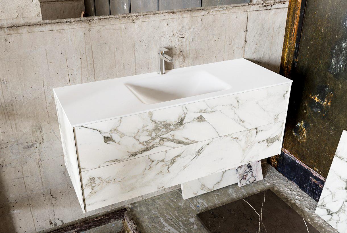 Zaro Kivi badkamermeubel met marmer tegels 120cm solid surface wastafel midden 2 lades 1 kraangat