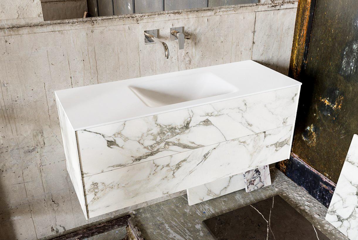 Zaro Kivi badkamermeubel met marmer tegels 120cm solid surface wastafel midden 2 lades zonder kraang