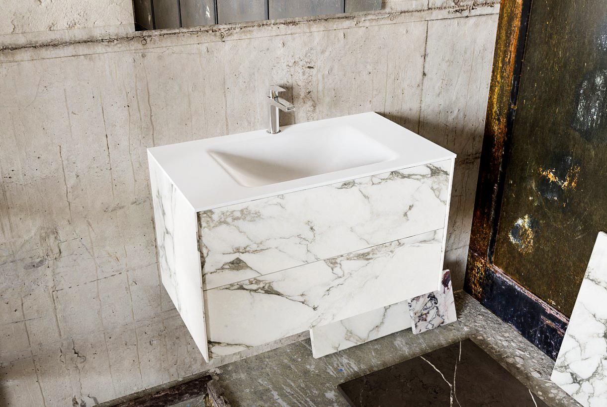 Zaro Kivi badkamermeubel met marmer tegels 80cm solid surface wastafel midden 2 lades 1 kraangat