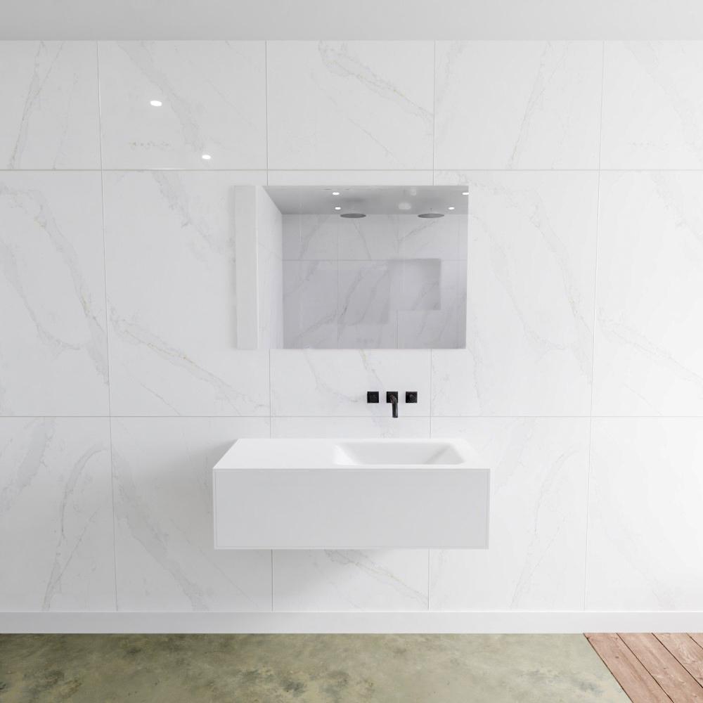 Zaro Lagom volledig naadloos solid surface onderkast 100cm mat wit met 1 lade Push tot open. Complee