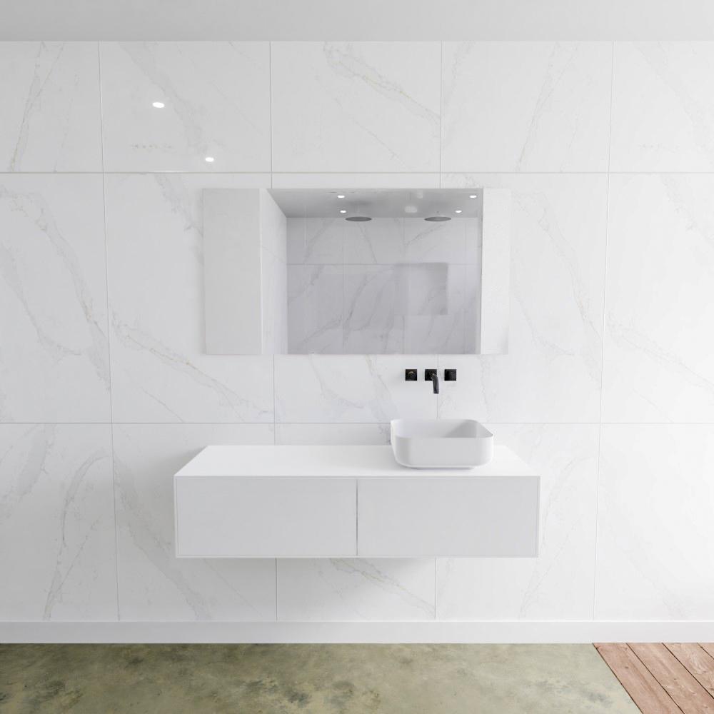 Zaro Lagom volledig naadloos solid surface onderkast met topblad 130cm mat wit met 2 lades Push tot